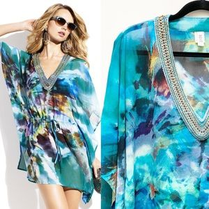 Badgley Mischka Beaded Swim Coverup
